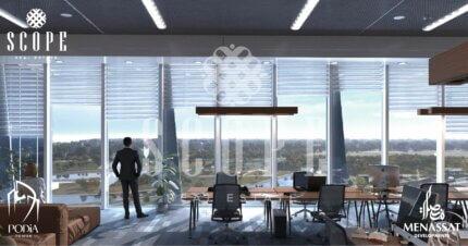 إطلالة برج منصات من أحد المكاتب