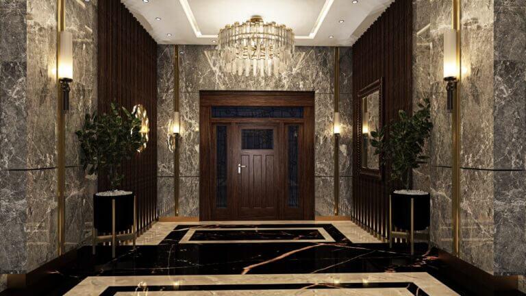 مدخل رخامي-لمشروع-جيرونا-في-النرجس-الجديدة